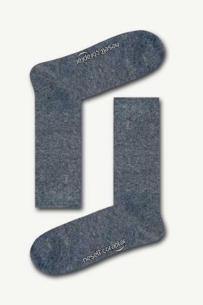 Düz Gri Basic Kadın Çorap