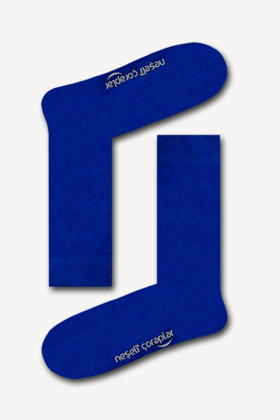 Düz Saks Mavi Basic Kadın Çorap