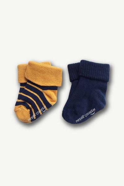 2'li Bebek Hardal-Lacivert Çizgili Renkli Çorap