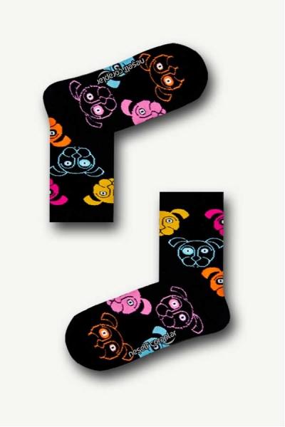Köpek Desenli Renkli Çocuk Çorap