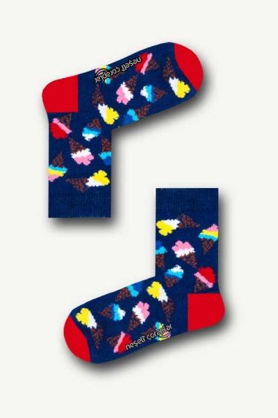Lacivert Dondurma Renkli Çocuk Çorap
