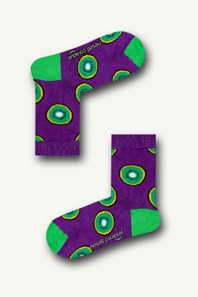 Mor Kivi Renkli Çocuk Çorap