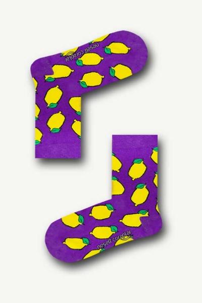 Mor Limon Desenli Renkli Çocuk Çorap