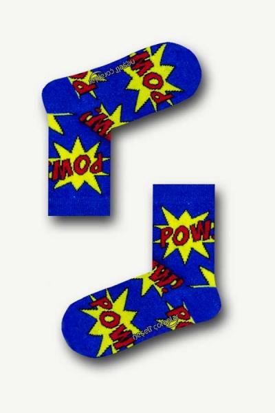 Pow Desenli Renkli Çocuk Çorap
