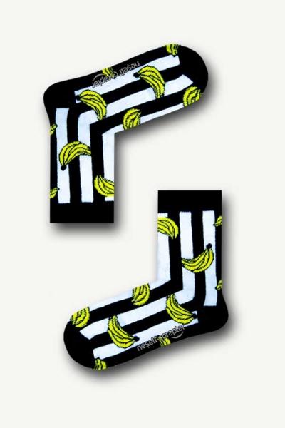 Siyah Beyaz Çizgili Muz Desenli Renkli Çocuk Çorap