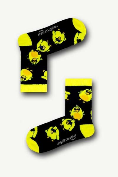 Siyah Civciv Desenli Renkli Çocuk Çorap
