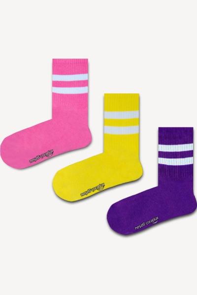 3'lü Pembe Şeritli Atletik Çorap Set