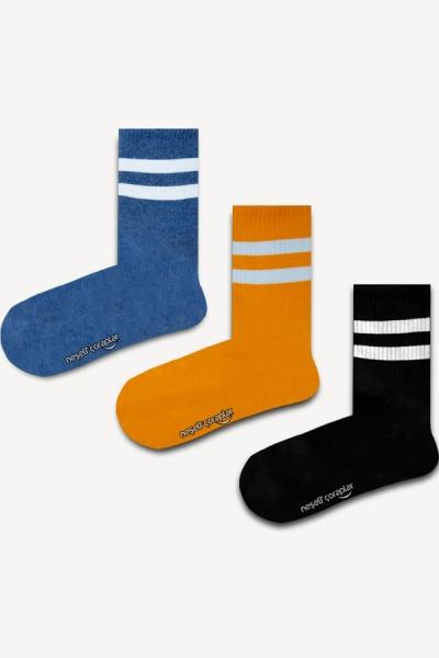 3'lü Sarı Şeritli Atletik Çorap Set
