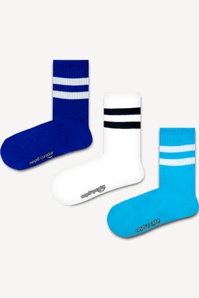 3'lü Beyaz Mavi Şeritli Atletik Çorap Set