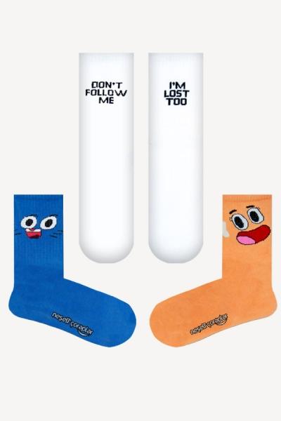 3'lü Darvin Gumball Desenli Atletik Çorap Set