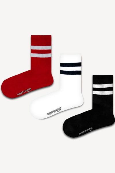 3'lü Beyaz Şeritli Atletik Çorap Set