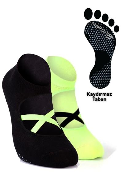 2'li Pilates ve Yoga Çorap Set 3