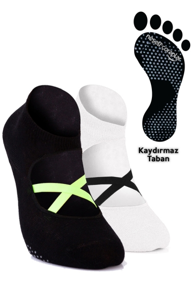 2'li Pilates ve Yoga Çorap Set 5