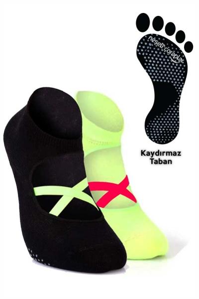 2'li Pilates ve Yoga Çorap Set 4