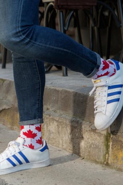 Canada Bayrak Desenli Renkli Erkek Çorap