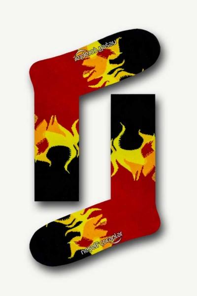 Flame Desenli Renkli Kadın Çorap