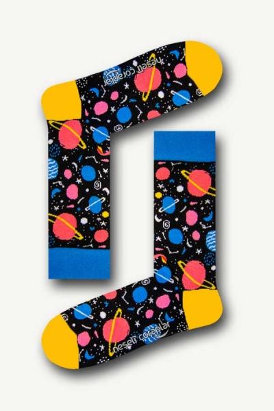 Gezegen Desenli Renkli Erkek Çorap