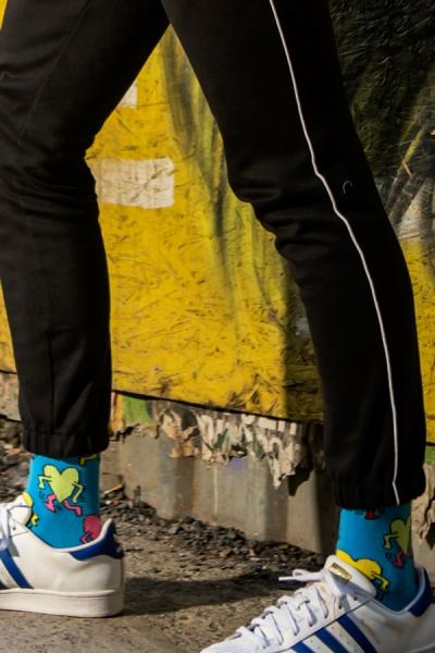 Koşan Kalp Desenli Renkli Erkek Çorap