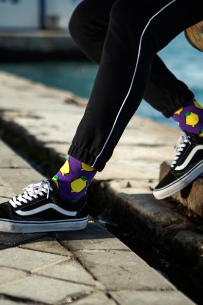 Limon Desenli Renkli Erkek Çorap