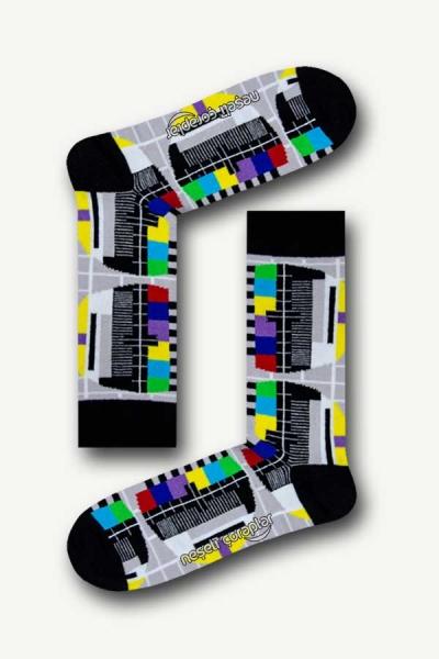 No Signal Desenli Renkli Erkek Çorap