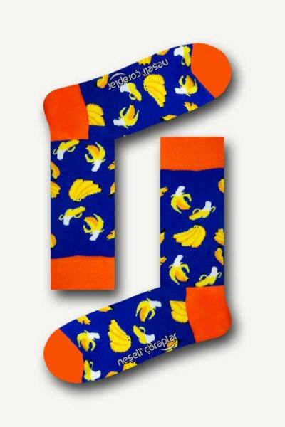 Saks Muz Desenli Renkli Erkek Çorap