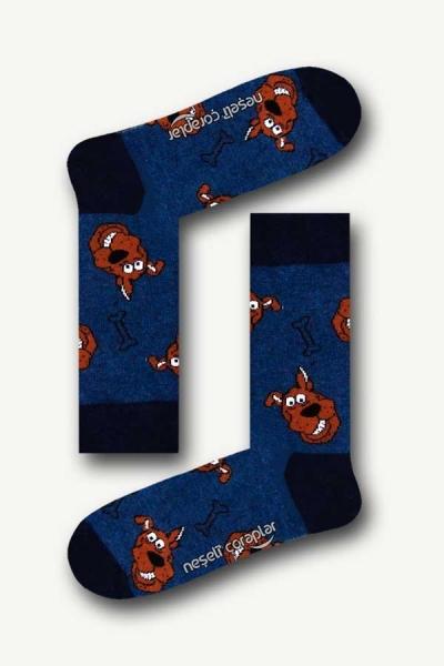 Lacivert Scobdy Doo Renkli Erkek Çorap