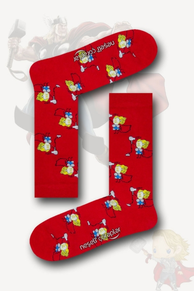Thor Desenli Renkli Kadın Çorap