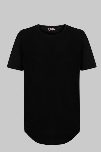 Erkek Slim Fit Siyah Tişört